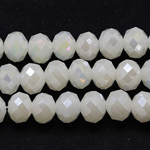 CRB20-121L small puffy rondelle - white smoke opal full lustre