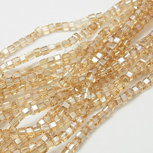 CRB18-3 crystal faceted cube - gold half coated