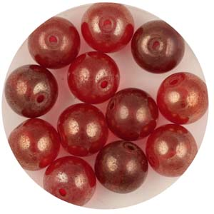 GB241C-1 gold coated transparent round beads - red