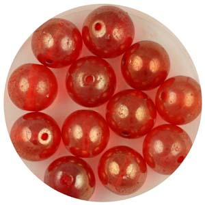 GB241C-5 gold coated transparent round beads - orange