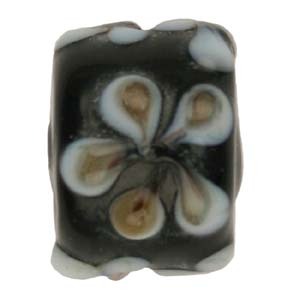 GB281-4 Indian glass lamp bead, barrel flower - black