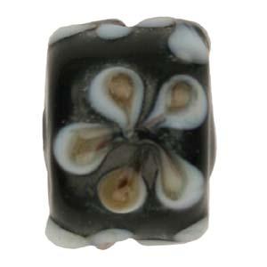 GB281-4Indian glass lamp bead, barrel flower - black