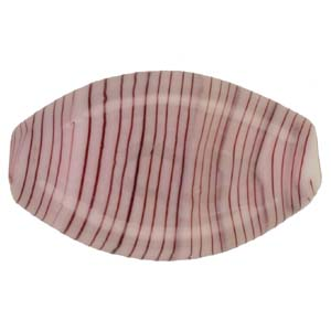 GB283-1 Indian glass lamp bead, stripey flat oval - lilac