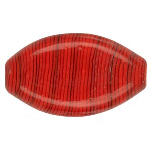 GB283-4 Indian glass lamp bead, stripey flat oval- red