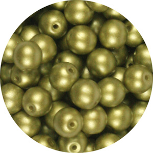 GB3-334 round pressed glass beads - pastel lime