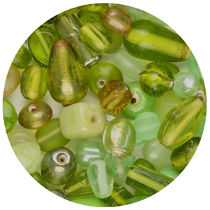 CTGBSM-12 - small glass bead mix, peridot - candy tube