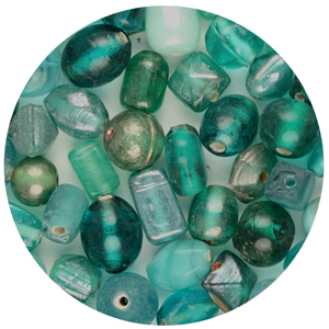CTGBSM-13 small glass bead mix, green turquoise - candy tube