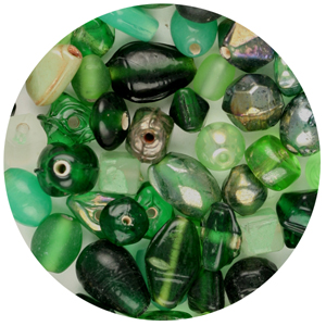 CTGBSM-4 - small glass bead mix, green - candy tube