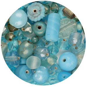 CTGBSM-5 small glass bead mix, aqua - candy tube
