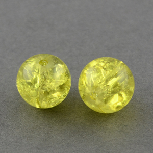 GCB06-15 glass crackle beads - yellow