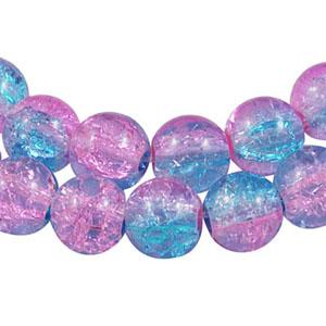 GCB10-T2 glass crackle beads - pink/aqua