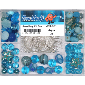 JBX-GB1 glass bead jewellery kit box - aqua