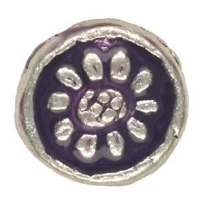 MEBE3-1enamelled metal flat round - purple
