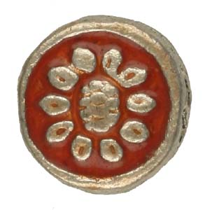 MEBE3-2enamelled metal flat round - red
