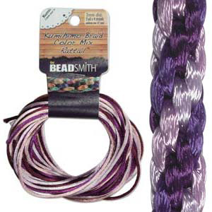 S215-M1 Kumihimo braid: rattail lilac mix (4x3 yards)