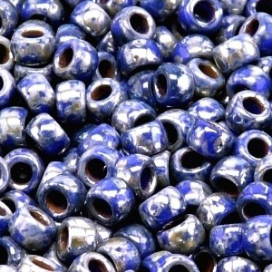 SBP6-420 Matubo Czech size 6 seed beads - opaque blue picasso