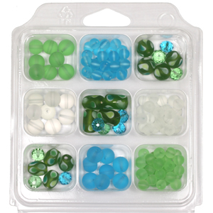 SBX-GB-TD2 Glass bead selection box with teardrop lamp beads - peridot & aqua
