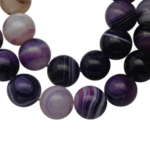 SP-AGSRP08 natural striped agate beads, round - purple