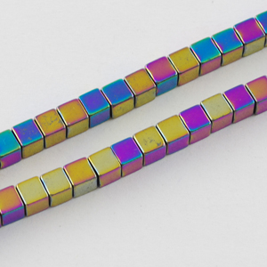 SP-HECM04 Hematite beads - cube, multi-coloured plated