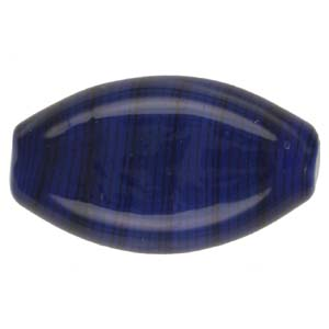 GB283-6 Indian glass lamp bead, stripey flat oval - royal