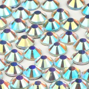 JS14V-2 Chinese flatback crystals, foiled -  crystal AB