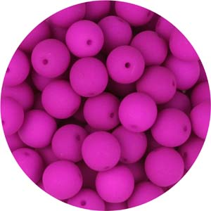 GB10-92 round pressed glass beads - neon magenta