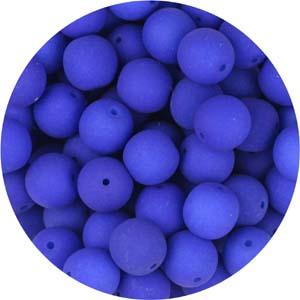 GB10-94 round pressed glass beads - neon petrol blue