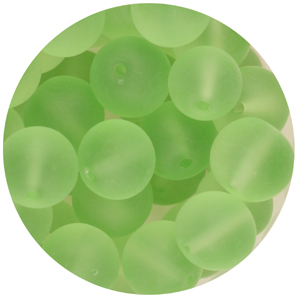 GB243F-14 round pressed frosted glass beads - peridot