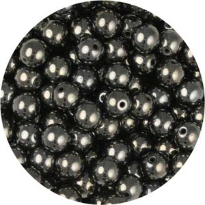 GB3-3 round pressed glass beads - gunmetal