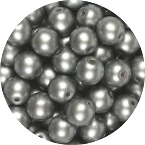 GB5-343 round pressed glass beads - pastel light grey