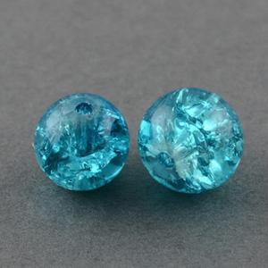 GCB06-13 glass crackle beads - dark aqua