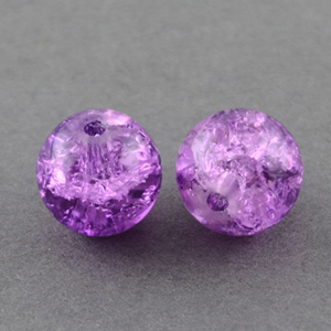 GCB12-6 glass crackle beads - purple
