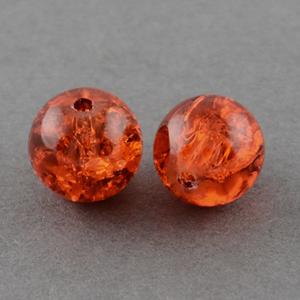 GCB06-7 glass crackle beads - orange