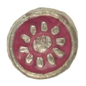 MEBE3-3enamelled metal flat round - pink