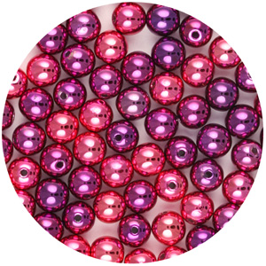 P12C Met Mix chinese round plastic pearls - metallic mixes