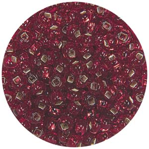 SB7-7 - Czech size 7 seed beads silver lined - red