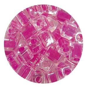 SB4 209 Miyuki square beads - crystal colour lined fuchsia