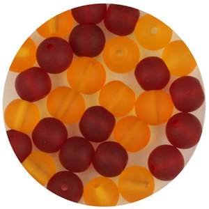 GB241F Mixes round pressed frosted glass beads - mixes