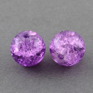 GCB10-6 glass crackle beads - purple