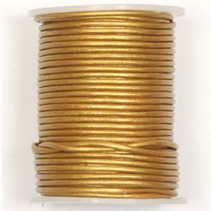 S9B Met Gold round leather cord - metallic gold