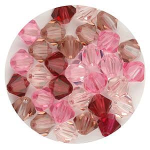 CGB9C M1 Czech crystal bicones - mixed pinks