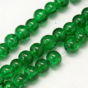 GCB06-11 glass crackle beads - emerald