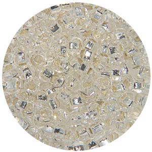 SB10-1 Czech size 10 seed beads, silver lined - crystal