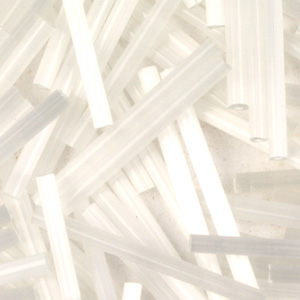 BB15-113 size 15 bugle beads - white satin