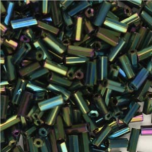 BB2-21 - size 2 bugle beads - green iris