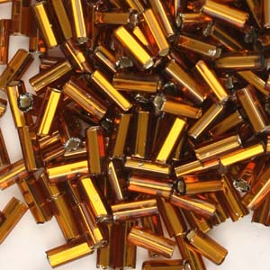 BB2-3 - size 2 bugle beads - dark gold