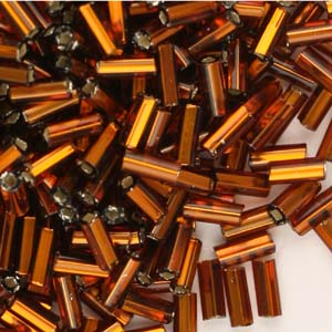 BB2-4 - size 2 bugle beads - light brown