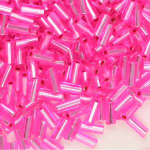 BB2 7, 71 - size 2 bugle beads - red & pink