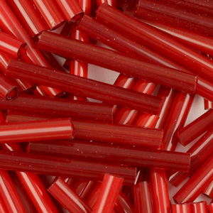 BB6-118 size 6 bugle beads - red satin