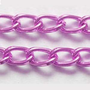 C59-10 aluminium curb chain - bright pink